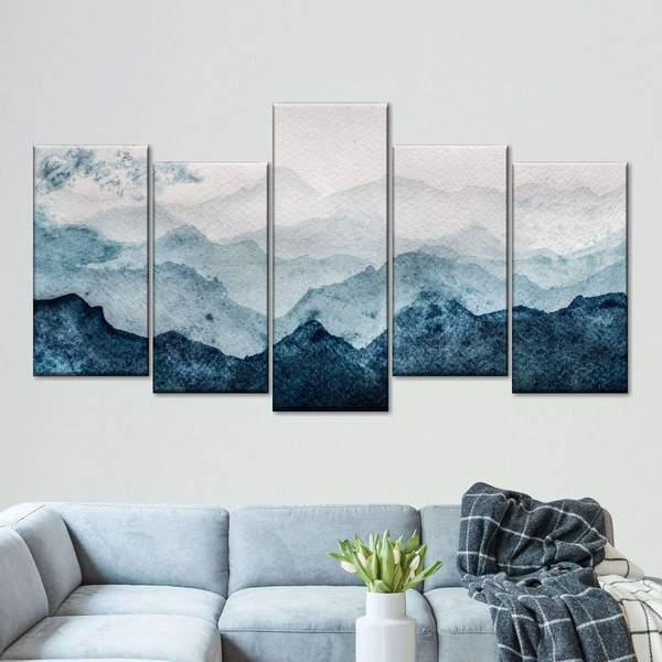 Japanese Mountain Landscape Multi Panel Canvas Wall Art