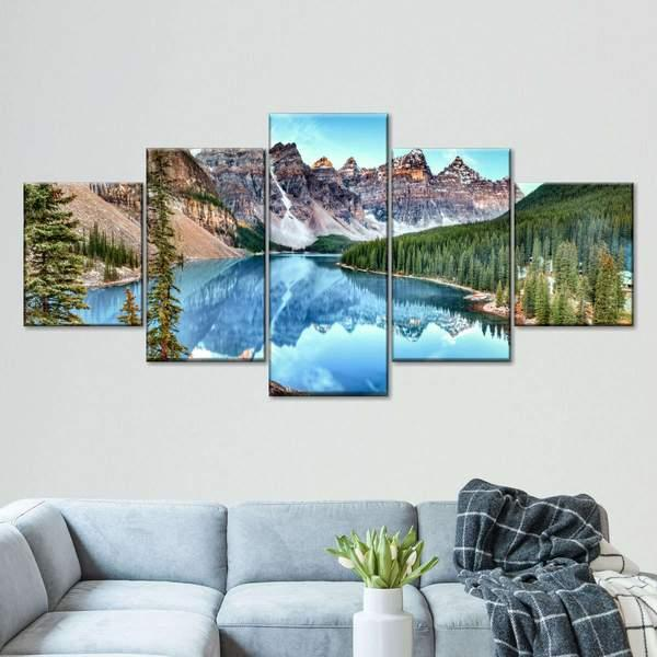 Moraine Lake In Banff National Park Multi Panel Canvas Wall Art